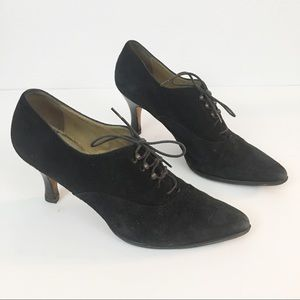 Saks Fifth Avenue Black Suede Lace-Up Heels